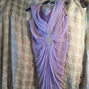 Tadashi Shoji Silk Dress Ruched and Beaded Size 12